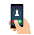 incoming call on mobile phone vector image