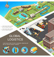 isometric global logistics poster vector image vector image