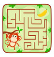 labyrinth kids game help monkey find banana vector image