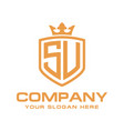 letter su initial with shield and crown luxury lo vector image vector image