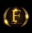 luxury golden letter f for premium brand identity vector image