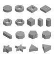 Monochrome set of geometric shapes platonic vector image