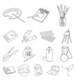 painter and drawing outline icons in set vector image vector image