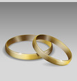 pair wedding rings gold realistic 3d vector image