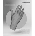polygonal wire frame hand vector image vector image