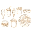 Retro stylized sketch of fast food lunch vector image vector image