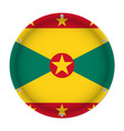 round metallic flag of grenada with screws vector image vector image