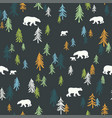 seamless pattern with trees and bears on a dark vector image vector image