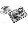 set hand drawn black and white steak vector image