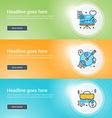 Set of flat line business website banner templates vector image vector image