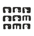 set of hand drawn birds icons vector image