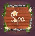spa salon banner with stones thai massage wooden vector image vector image