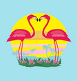 sunset and pink flamingos vector image vector image