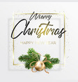 the black inscription and gold christmas wreath vector image