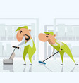 two cleaners at work vector image vector image