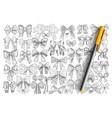 various decorative bows doodle set vector image