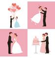 wedding card bride and groom set vector image