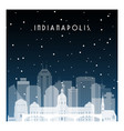 winter night in indianapolis night city in flat vector image vector image
