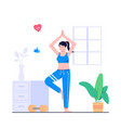 women yoga in home concept flat vector image