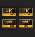 4k ultrahd 2k quadhd 1080 full hd and hd vector image vector image