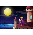 A male superhero at the castle vector image