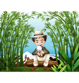 a rainforest with a man holding a magnifying lens vector image vector image