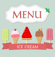 a set of five different ice cream with red ribbon vector image vector image