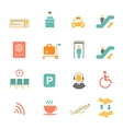Airport icons flat set with baggage check airplane vector image vector image