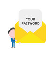 businessman character holding open mail envelope vector image