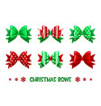 cartoon christmas green-red gift bows vector image vector image