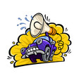 cartoon funny car with a megaphone in a flat vector image vector image