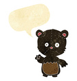 cartoon little black bear waving with speech vector image vector image