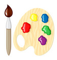 cartoon paintbrush and palette paints vector image