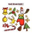 christmas doodle art set vector image