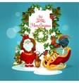 Christmas greeting card with Santa and xmas tree vector image