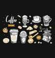 coffee and coffee to go set vector image vector image