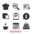 Coffee cup icon chef hat symbol birthday cake