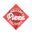 color vintage pizza delivery emblem vector image vector image
