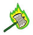 comic cartoon flaming axe vector image vector image