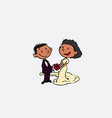 couple of black newlyweds posing happy isolated vector image vector image