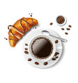 croissant with coffee cup isolated realistic vector image vector image