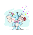 cute and funny baelephant with candy vector image