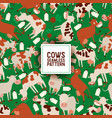 cute cow eating grass seamless pattern vector image