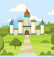 fairy tale background with castle majestic vector image