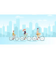family on bicycles on big vector image vector image