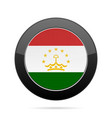 flag of tajikistan shiny black round button vector image