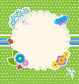 Frame with flowers and butterfly ladybugdragonfly vector image vector image