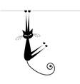 Funny cat silhouette black for your design vector image vector image