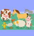 funny farm animal characters group cartoon vector image vector image