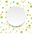 green shamrocks and orange confetti background vector image vector image